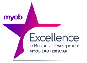 MYOB Exo Excellence in business development award for 2019